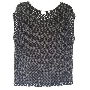 Postmark | Anthro Black White Woven Textured Top L